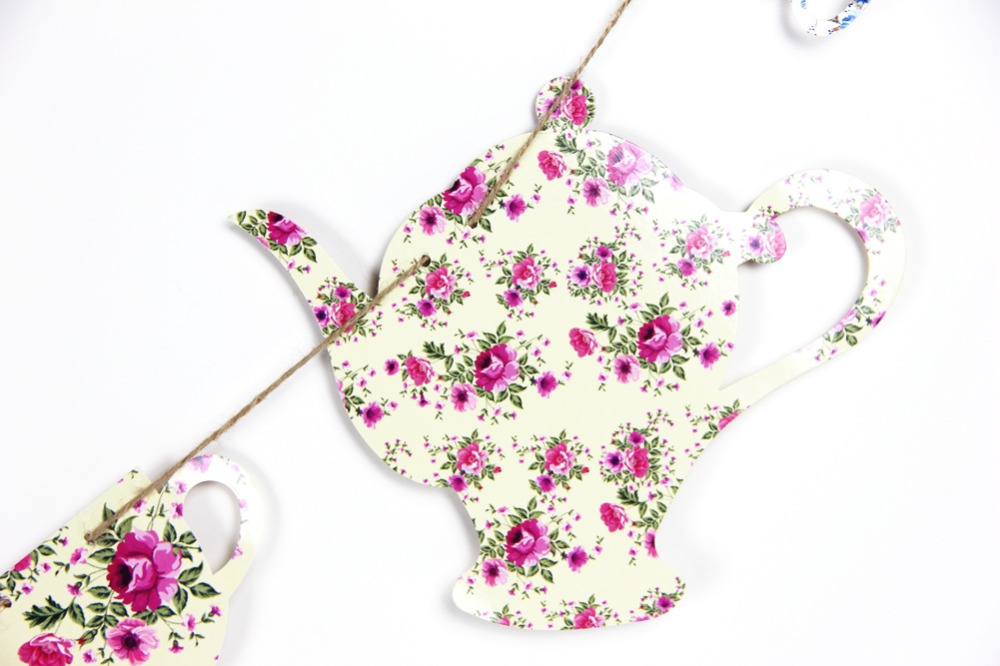 Tea Party Decorations Floral Printable Tea Pot Tea Cup Garland Banner Thanksgiving Day Mother 39 s Day Birthday Party Decor in Party DIY Decorations from Home amp Garden