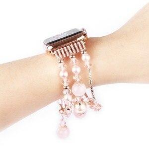 Image 4 - Bracelet Agate extensible pour femmes, pour Apple Bracelet de montre, pour iWatch Seies 1/2/3/4/5 44mm 42mm 40mm 38mm, boucle Bracelet de montre