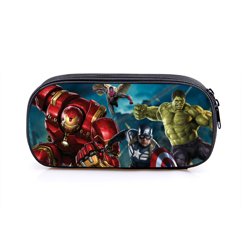 The Avengers Captain America Iron Man Hulk Boys Cartoon Pencil Case School Pouches Children Student Pen Bag Kids Purse Wallet famous brand school backpack the avengers captain america iron man fashionable laptop backpacks high quality leather