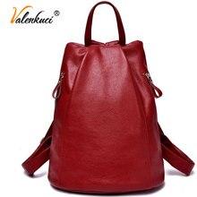 Valenkuci mochilas de cuero genuino de las mujeres para las mujeres de la vendimia bolsa de viaje bolsa de la escuela para la muchacha de universidad mochilas para estudiantes BD-001