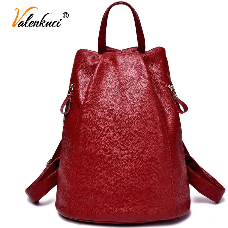 Valenkuci women genuine leather backpacks for women vintage school bag for college girl travel bag backpacks for student BD-001