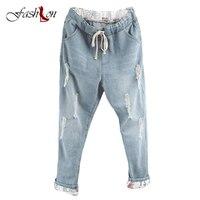 אמצע אלסטיים מותן כותנה מכנסיים ישר אופנה ג 'ינס קרועה כחול צפצף Loose ג' ינס החבר לנשים לנשים בתוספת גודל ג 'ינס