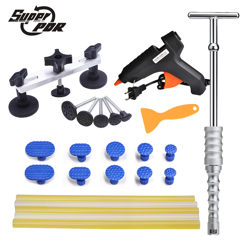 Super PDR Paintless dent repair tools slide hammer pulling bridge set glue gun glue sticks set car body dent removal hand tool  super pdr car paintless dent removal tools kit dent lifter pulling bridge glue gun glue tabs 34 pc dent repair tool set