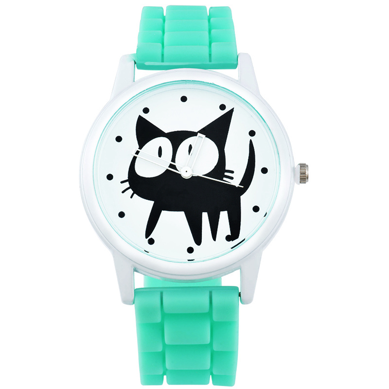 Women Watches Leather Bracelet Watch Cats Mint Green Quartz For Ladies Watch Fashion Casual Cute Cat WristWatch Mujer Montre