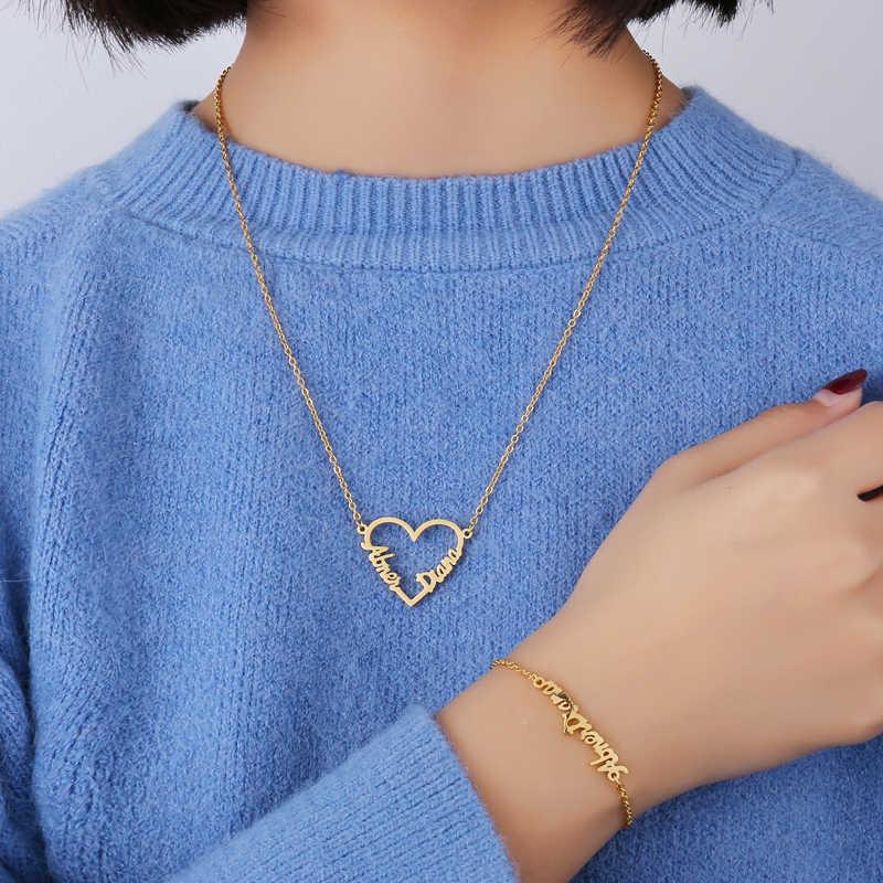 Нержавеющая сталь имя Pandent ожерелье s персонализированное имя на заказ Любовь Сердце персонализированные Индивидуальные Ожерелье для женщин подарок