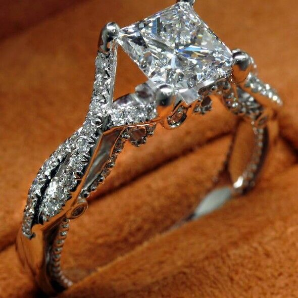 2016 New Luxury Jewelry  Princess Cut 925 Sterling silver Simulated stones Wedding Engagement Party Band Women Ring Size 5-112016 New Luxury Jewelry  Princess Cut 925 Sterling silver Simulated stones Wedding Engagement Party Band Women Ring Size 5-11