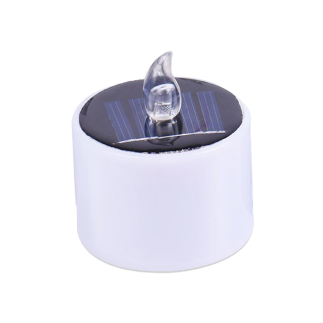 1 Pc LED Solar Candle Light Waterproof Yellow Flicker Flameless Candle Solar Energy Candle for Home Yard Decor (White) A30