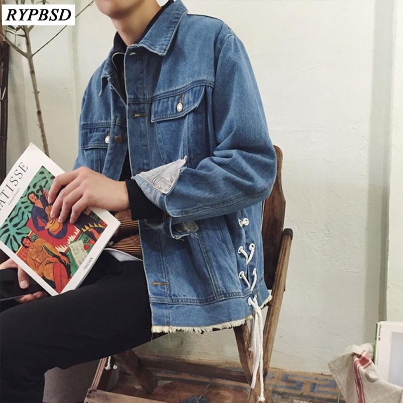 2019 Nouveau Automne Personnalité à lacets décontracté Veste En Jean Hommes Vintage Classique Bleu Simple Boutonnage Lâche Streetwear Jeans Manteau Hommes