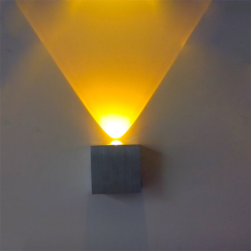 Wall Lamps simple LED wall light 3W AC110V 220V square wall mounted RGB wall lamp Epistar chip high brightness led spot lampWall Lamps simple LED wall light 3W AC110V 220V square wall mounted RGB wall lamp Epistar chip high brightness led spot lamp
