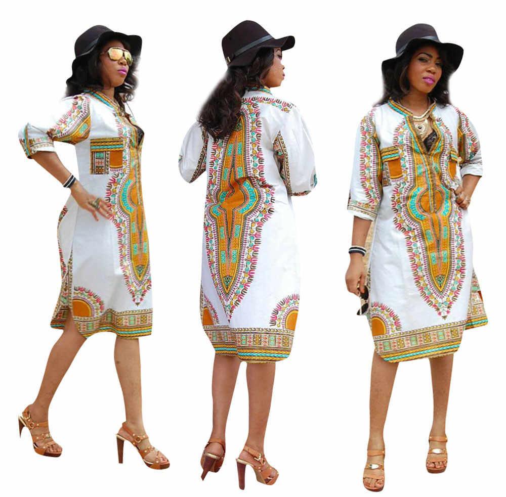 2018 новый дизайн Для женщин с рукавами для малышей осеннее платье vestidos с принтом в винтажном стиле, Повседневное прямые кафтан Платье До Колена женская одежда