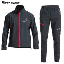 WEST BIKING Winter Fleece Cycling Sets Bicycle Thermal Jacket Mens Bike Trousers ropa ciclismo Clothing Sportswear