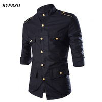 Men Casual Shirt Summer Vintage Gold Badge Multi Pocket Black Military Air Force Shirt Slim Fit