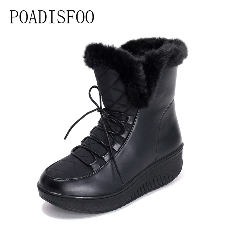 POADISFOO Women Boots Solid Slip-On Soft Cute Women Snow Boots Round Toe Flat with Winter Fur Ankle Boots.TYX-B585 cute women winter snow boots slip on soft fur warm shoes candy color ankle boots woman round toe solid flat biker boots