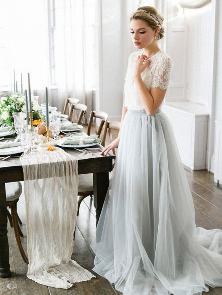 2 Pieces Wedding Dresses Pleats Tulle Bottom With Lace Top Elastic Waist Long Aline In From Weddings Events On