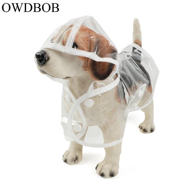 OWDBOB 1pc Waterproof Dog Raincoat with Hood Transparent Pet Dog Puppy Rain Coat Cloak Costumes Clothes for Dogs Pet Supplies 1