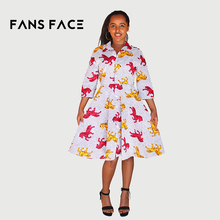 FANS FACE Wholesale African Dresses For Women Pegasus Printed Dresses Women Clothing Long Sleeve For Ladies Plus Size African