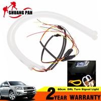 2pcs Car Headlight Turn Signal Light 60cm DRL Flexible LED Tube Strip Style Daytime Running Lights