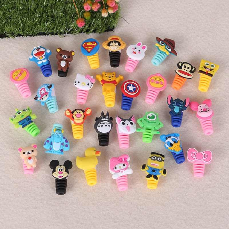 1Pcs Cute Animal Kabel Protector Cord Draad Cartoon Bescherming Mini Siliconen Cover Opladen Kabelhaspel Voor Iphone Charger Cable