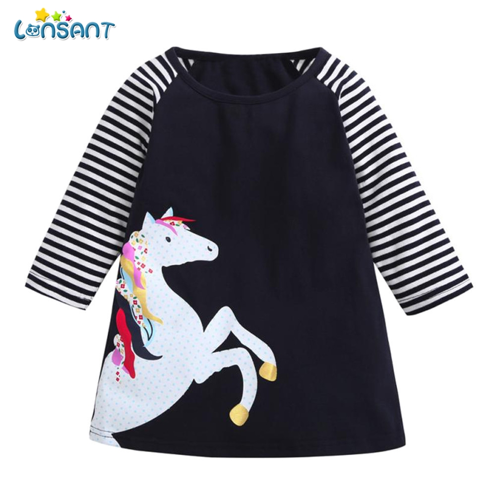 LONSANT 2018 Summer Dress Cute Toddler Baby Girl Kid Spring Long Sleeve Clothes Horse Stripe Print Princess Party Dress