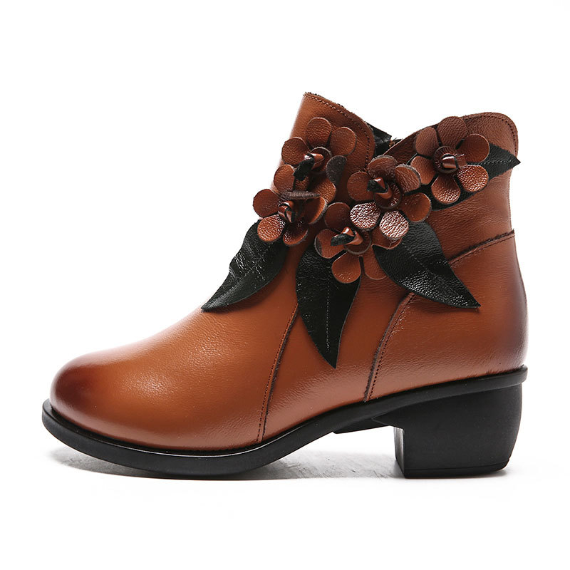 2019 Winter booties Women Boots Vintage Genuine Leather Low-Heeled Shoes Round Toe Shoes Fashion Ladies Ankle Boots for Women