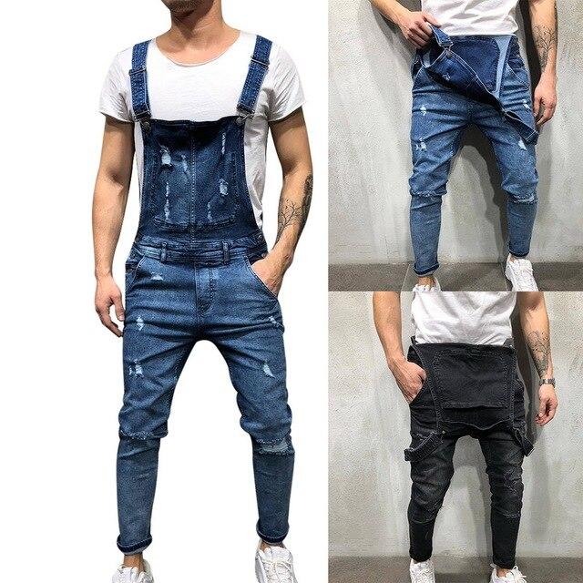 Men Ripped Denim Jumpsuit Overalls Jean Casual Suspenders Pants Men Fashion Hip Hop Jumpsuit Jean Bib Pant Streetwear 2