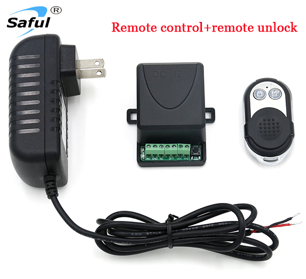 Saful Free Shiping DC12V wireless unlock controller door access control system with 1 remote control easy to install convenient
