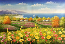 Hand Painted Knife Canvas Painting Beautiful  Wall Painting Flower  Red flower Farm Landscape  Wall Art Picture for Living Room