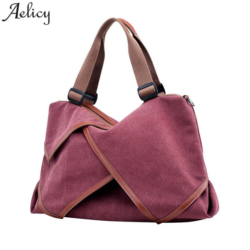 Canvas Handbag Hobos Bag Patchwork Criss-Cross Large Shoulder Bag S30