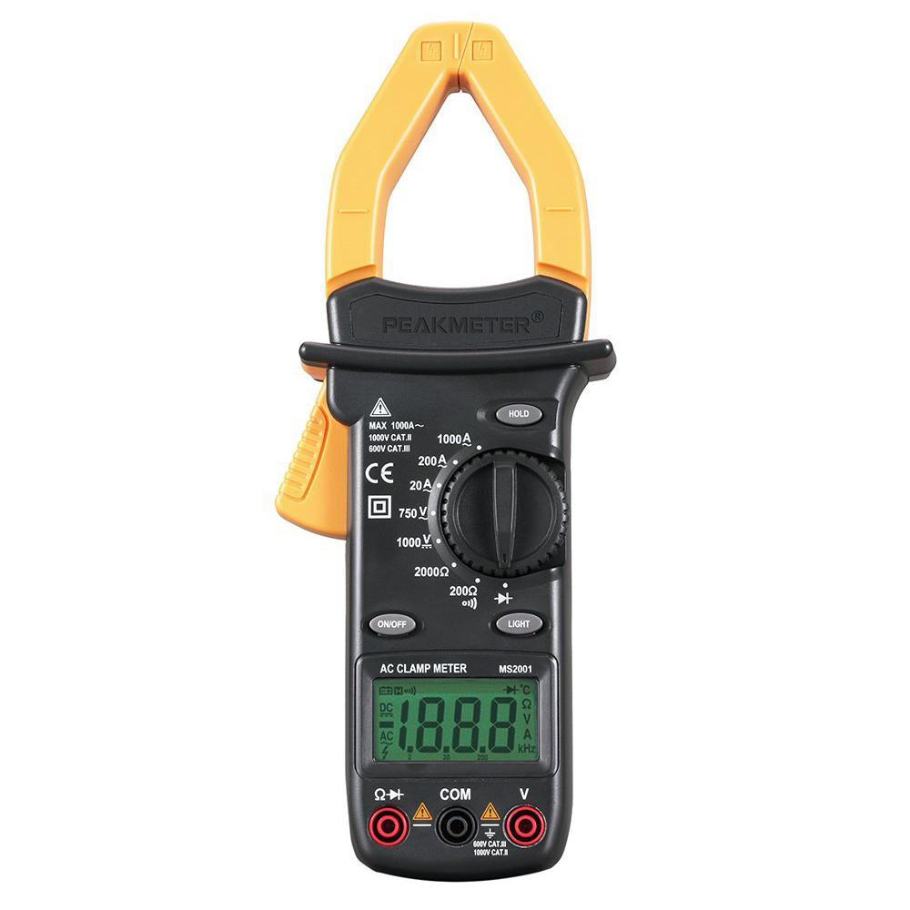 PEAKMETER MS2101 4000 Counts ACDC Digital Clamp Meter Multimeter AC DC Voltage Current Resistance Frequency Capacitance Tempe