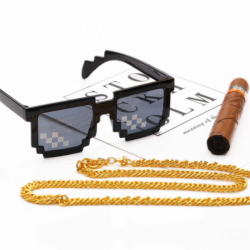 UVLAIK Deal With It Glasses Men 8 bits Mosaic Pixel Sunglasses Women Party  Eyewear thug life Around the World Necklace Cigar