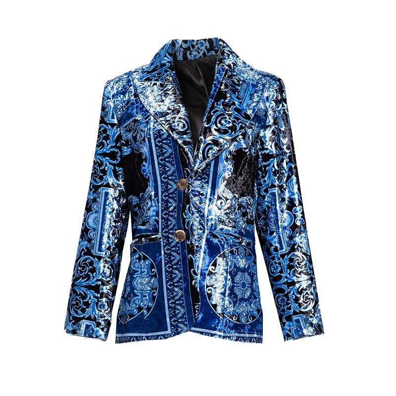 Slim 2018 Bleu Aeleseen Imprimé Luxe Femmes Veste Blazer Royal Designer Longues De Automne Manches Hiver Velours qTgUwO