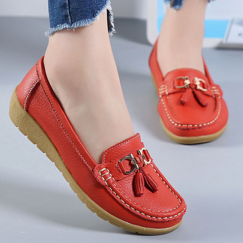Boat Shoes Women Fashion Sneakers Genuine Leather Shoes Tassel Fringe Casual Shoes Round Toe Plus Size