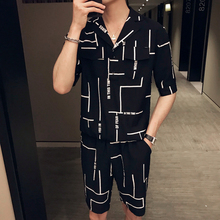 цены Loldeal Summer Men's Short Sleeve Print Shirt Cropped Top + Shorts Men's Casual O-Neck Top Shorts Set