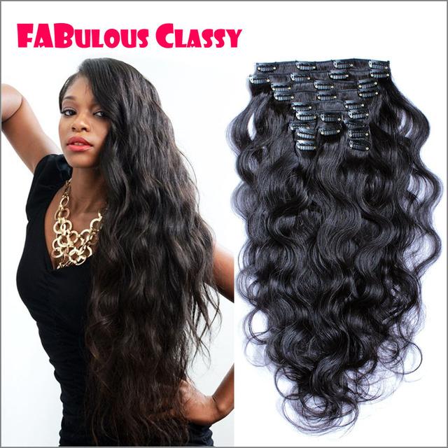 Africano americano clipe na extensão do cabelo humano clipe no cabelo humano grampo em extensões do cabelo da onda do corpo clipe em preto em extensões do cabelo