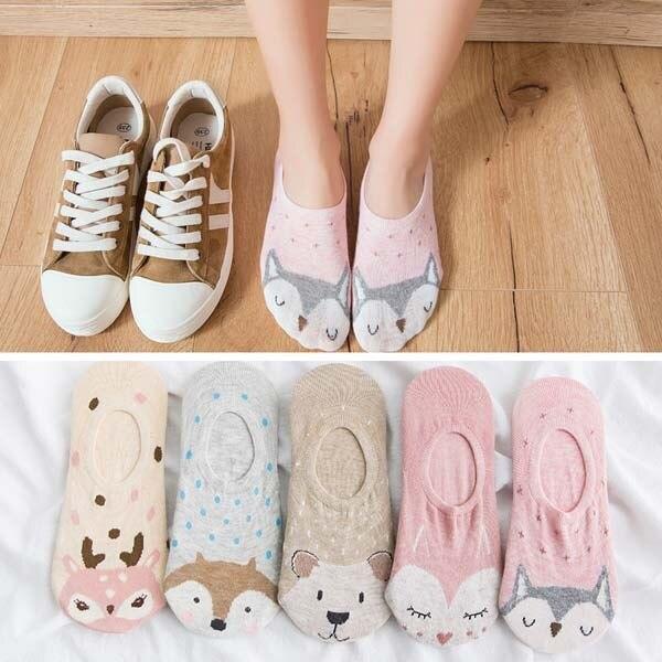 5Pairs/Lot Summer Korea Cartoon Cat Fox mouse Cute Animal Funny Ankle Socks 2