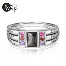 UNY 925 Sterling Silver Special Customized Engrave Rhodium Plated Family Anniversary Sentimental Gift Birthstone CZ Ring