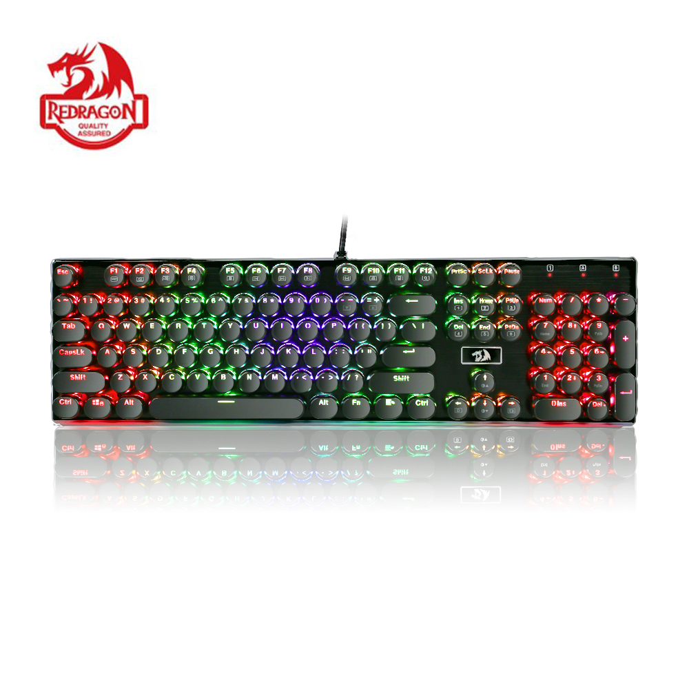 Redragon K556 RK Mechanical Gaming Keyboard Typewriter RGB LED Backlit 104 Keys Anti ghosting Brown Switches