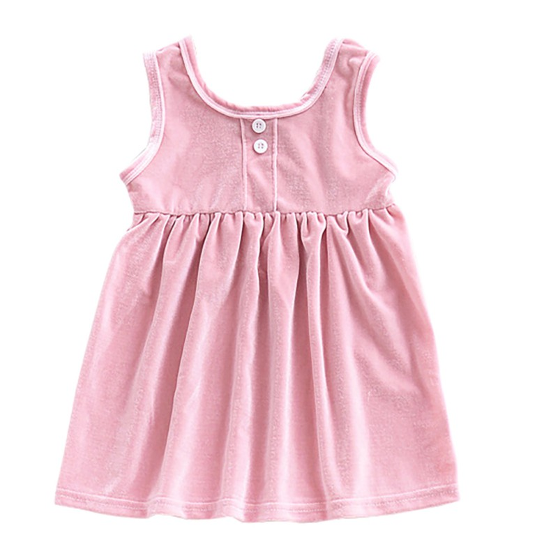 New Style Solid Baby Girl Dress Comfortable For Dressing In the Summer With Sleeveless Having Two Colors