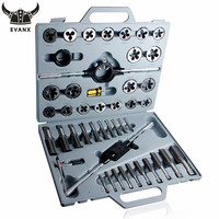"""EVANX 45pcs 1/4"""" 1"""" Tap and Die Set Inch Hand Screw Taps Alloy Steel Thread Cutting Tool With Case thread cutting tool screw taps tap and die -"""