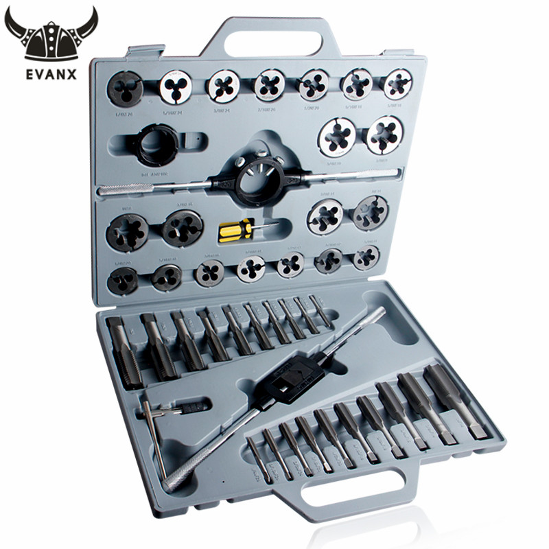 EVANX 45pcs 1/4 1 Tap and Die Set Inch Hand Screw Taps Alloy Steel Thread Cutting Tool With Case