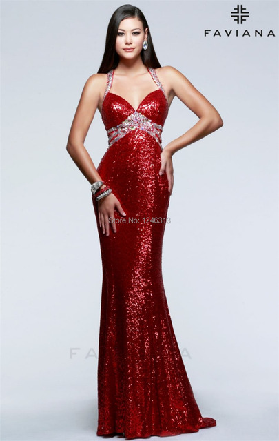 8c3453d7519 2015 new arrival mermaid Jessica rabbit clothing collar completely red  sequins PROM dress floor length free shipping