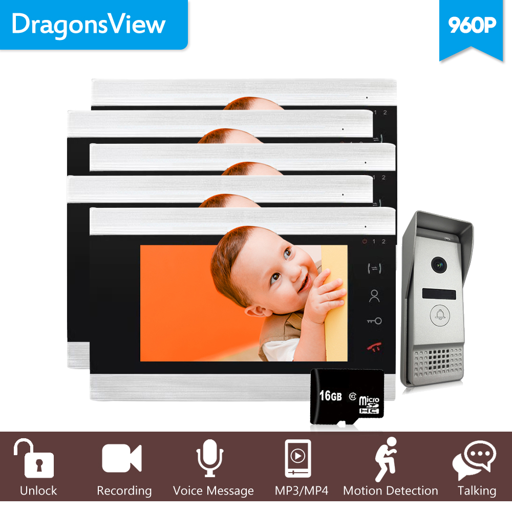 Dragonsview 960P 4 Wire Video Intercom System 7 Inch  Video Entry Screen Security System Voice Message/Motion Detection/MP4 Play