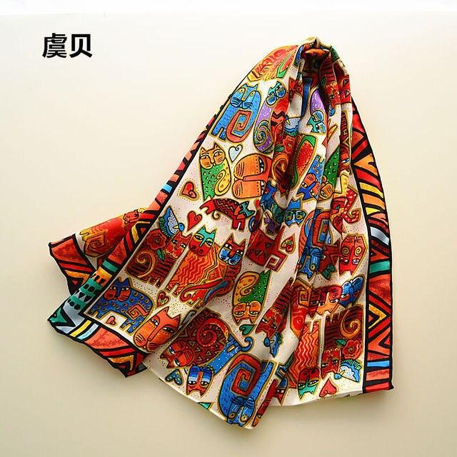 I gatti del fumetto di lunga sciarpa delle donne di protezione solare morbido sottile di gelso naturale di seta sciarpa stampata sciarpe dello scialle dellinvolucro regalo di natale per la Signora