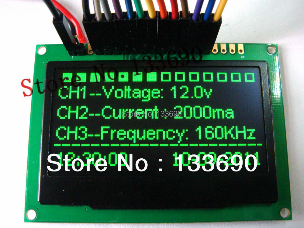 US $27 8 |2 4'' 2 42 inch Green 128x64 OLED display module OLED module,8bit  6800/8080,4 SPI,I2C Interface 20PIN ssd1305 driver-in LCD Modules from