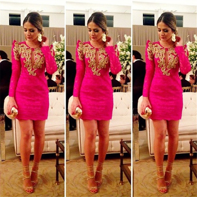 Graceful 2016 New Summer Sexy Mini Short Hot Pink Gold Beaded Lace Women Special occasion Cocktail Party Dress robe de cocktail