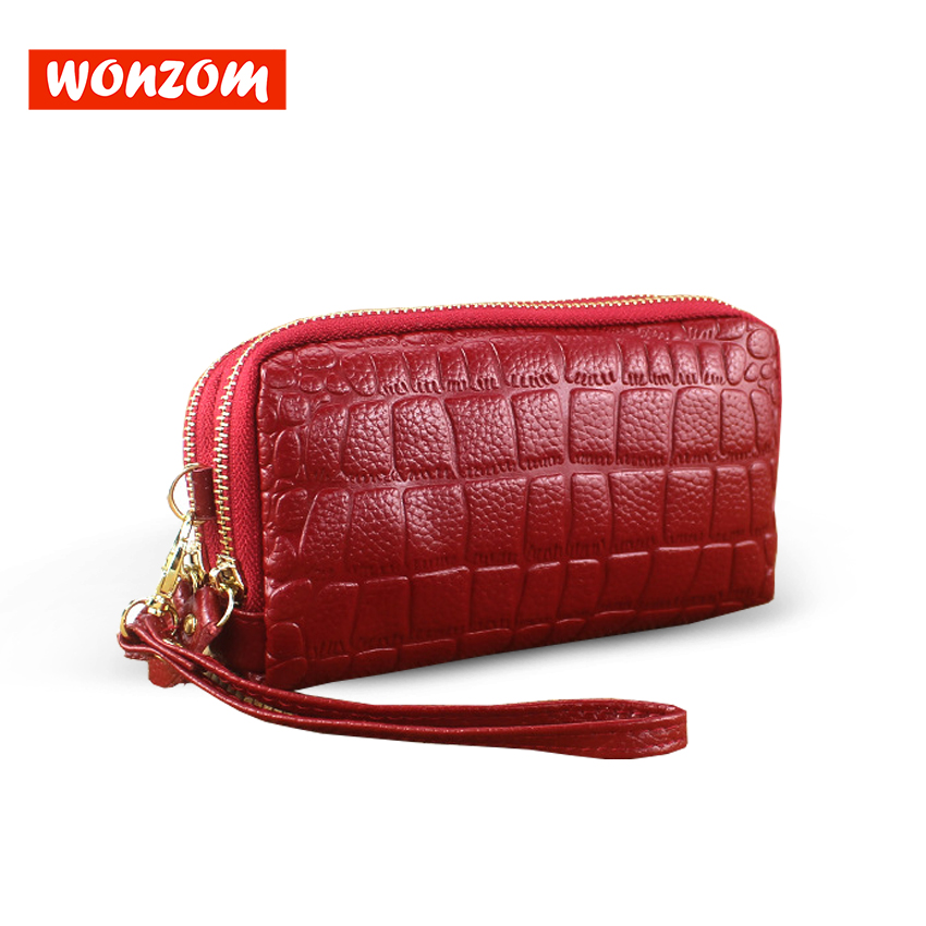 WONZOM 2018 New Fashion Women Clutch Wallet Large Capacity Double Zipper Genuine Leather Bag For Lady Female Cowhide Coin Pocket cardamom cowhide genuine leather handbag female solid double zipper wallet women large capacity coin small bag purse phone bag