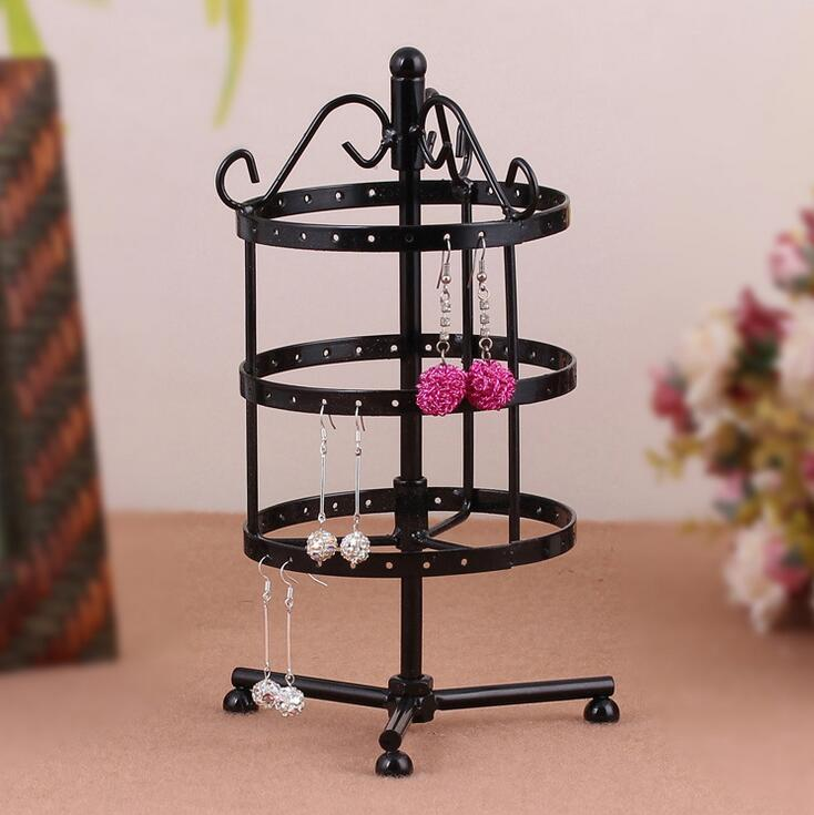 Hot Sale Round 72 Holes Earrings Stud Necklace Jewelry Display Jewllery Organization Multifunctional Metal Display Stand Holder