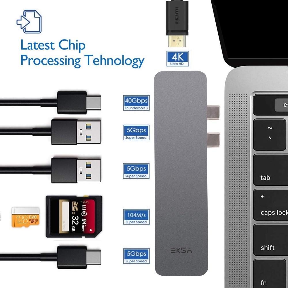 EKSA USB C Hub 7 in 1 Aluminium Thunderbolt Adapter mit 4K HDMI/Thunderbolt 3/ Ladeport Typ C/SD/Micro SD Kartenleser/ 2 * USB 3