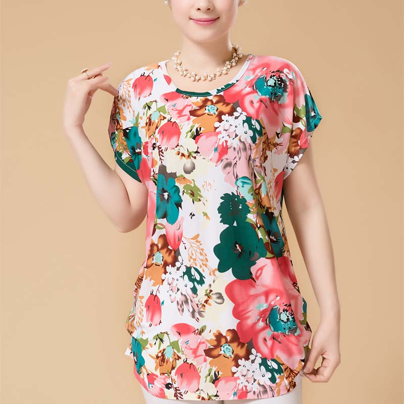 Summer style women casual blouses plus size short sleeve floral women blouses shirts girl