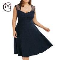 GIYI Plus Size 5XL Vintage Retro Polka Dot Mesh Lace A Line Dress Women Sleeveless Office